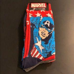 2 pack Captain America socks sz 6-12